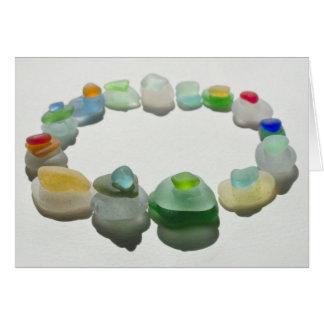 Sea glass, beach glass, rare colors, blank card