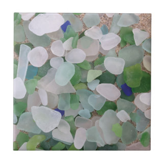 Sea glass from the ocean small square tile