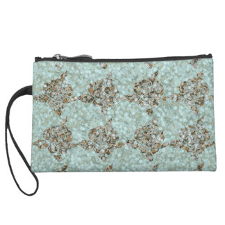 Sea-glass & Gems_Roses_Turquoise-Deep Gold Suede Wristlet