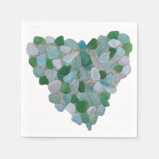 Sea glass heart paper napkin
