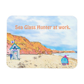 Sea Glass Hunter at work... Rectangular Photo Magnet