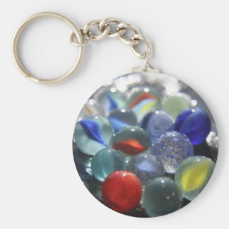 Sea Glass Marbles Basic Round Button Key Ring
