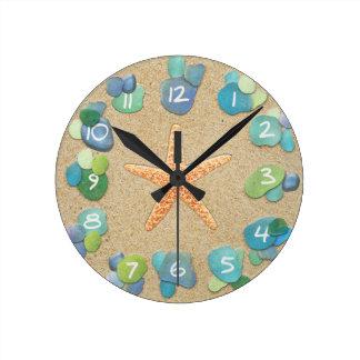 Sea Glass Sand Starfish Wall Clock