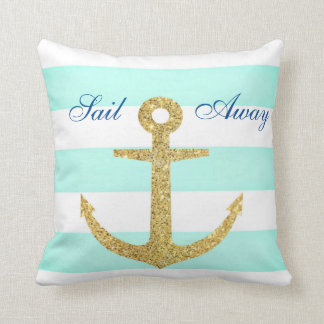 Sea Glass Stripe & Gold Anchor Throw Pillow