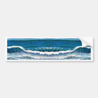 Sea Glory Ocean Waves Painting Art Products Bumper Sticker