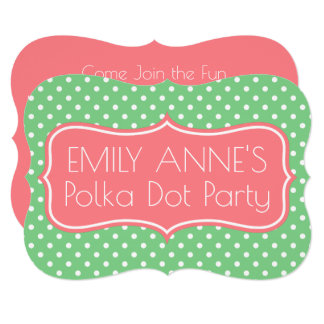 Sea Green and Coral Pink Polka Dot Personalized Card