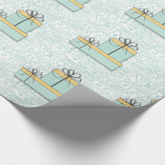 Sea Green and Yellow Birthday Presents Wrapping Paper