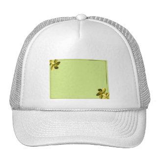 Sea Green and Yellow Plumeria Cap