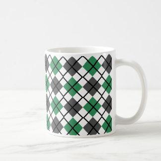 Sea Green, Black, Grey on White Argyle Print Mug