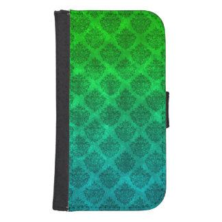Sea Green Blue Ornate Damask Grunge Texture Design