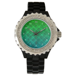 Sea Green Blue Ornate Damask Grunge Texture Design Watch