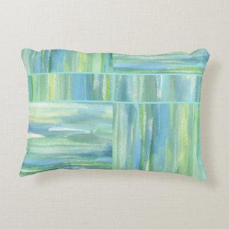 Sea green blue watercolor abstract decorative cushion