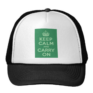 Sea Green Keep Calm and Carry On Cap