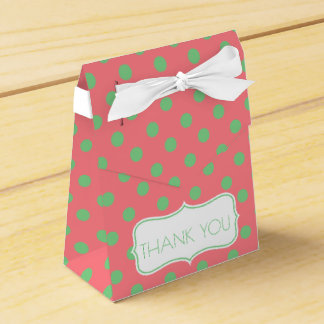 Sea Green Polka Dots on Coral Pink Personalized Favour Box