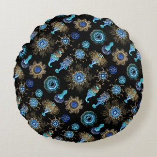 Sea Green Siphonophorae Round Cushion