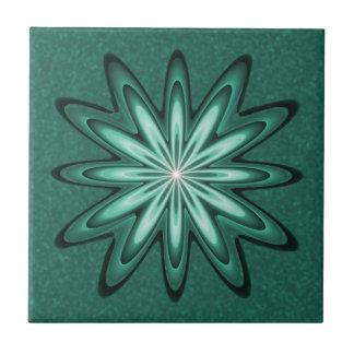 Sea Green Star Flower on Bokeh Ceramic Tile