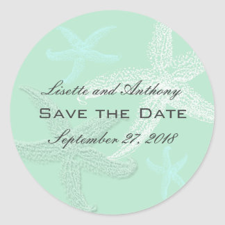 Sea Green Wedding Save the Date Stickers
