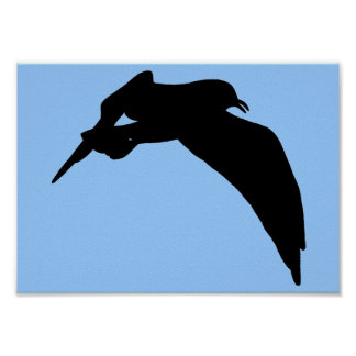 Sea Gull Silhouette Painting in black poster