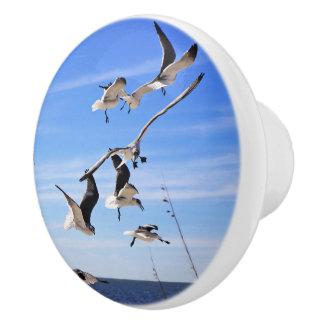 Sea Gulls On The Wing Ceramic Cabinet Knob
