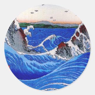 Sea, Hiroshige 歌川広重 Classic Round Sticker