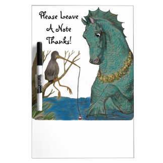 Sea Horse And Fishing Bird Whimsy Dry-Erase Board