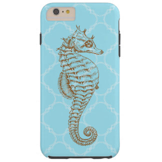 Sea Horse Brown Blue Quatrefoil Tough iPhone 6 Plus Case