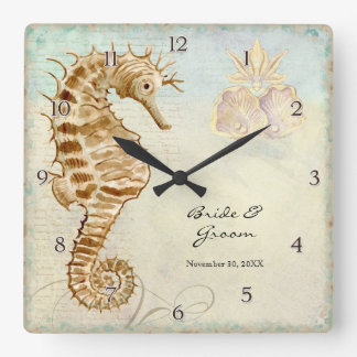 Sea Horse Coastal Beach Personalized Wedding Gift Wallclocks