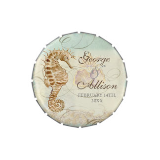 Sea Horse Coastal Beach - Wedding Sticker Seal Candy Tin