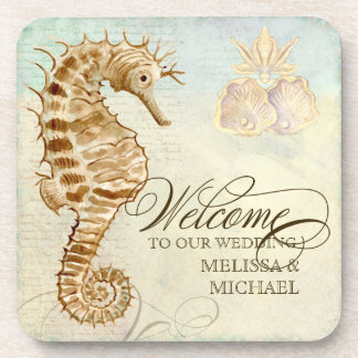 Sea Horse Coastal Shore - Welcome to our Wedding Drink Coaster