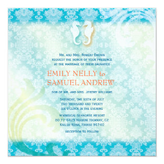 Sea Horse Couple Jeweled Damask Teal Beach Wedding Card