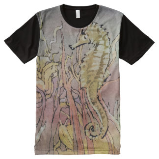 Sea Horse Design by Leslie Harlow All-Over Print T-Shirt