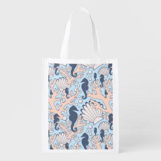 Sea Horse Gardens Blue and Orange Reusable Grocery Bag