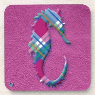 Sea Horse in Pink Blue Plaids on Leather Texture Coaster