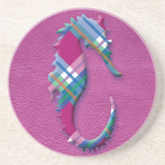 Sea Horse in Pink Blue Plaids on Leather Texture Sandstone Coaster