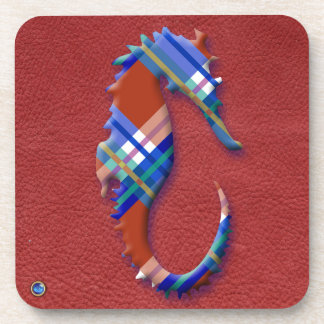 Sea Horse in Red and Blue Plaid on Leather texture Coasters