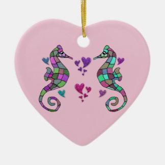 Sea horse love Valentine Ornament