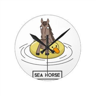 Sea Horse Round Clock