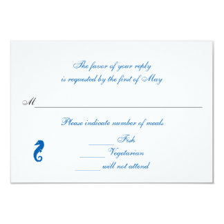 """Sea Horse Serenity"" Rsvp/Reply Cards 9 Cm X 13 Cm Invitation Card"