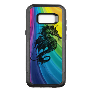 Sea Horse Silhouette on Swirly Rainbow OtterBox Commuter Samsung Galaxy S8+ Case