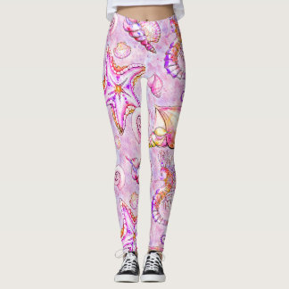 Sea horse starfish shells lavender pink ocean leggings