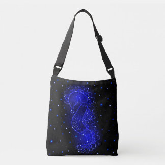 sea horse swims in lights crossbody bag