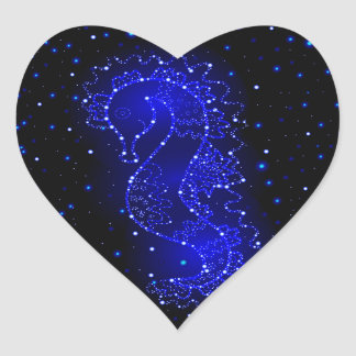 sea horse swims in lights heart sticker