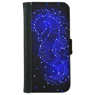 sea horse swims in lights iPhone 6 wallet case