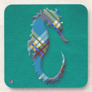 Sea Horse Till Plaids on Turquoise Leather Beverage Coasters