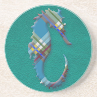 Sea Horse Till Plaids on Turquoise Leather Coaster