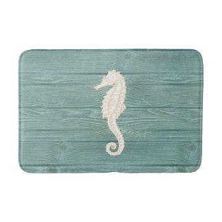 Sea Horse Vintage Aqua Wood Bath Rug