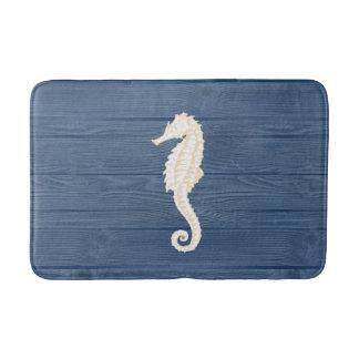 Sea Horse Vintage Blue Wood Bath Rug Bath Mats