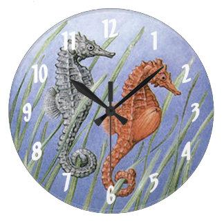 Sea Horses Large Clock
