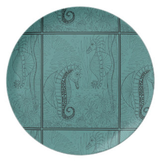 Sea Horses Line Art Design Party Plates
