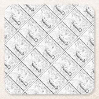 Sea Horses Line Art Design Square Paper Coaster